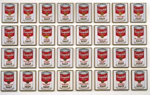 """""""Campbell's Soup Cans"""" (1962) by Andy Warhol are shown in this undated photo released to the press on Aug. 10, 2011. The works are synthetic polymer paint on 32 canvases, each 20 x 16"""". Source: Museum of Modern Art via Bloomberg EDITOR'S NOTE: NO SALES. EDITORIAL USE ONLY."""